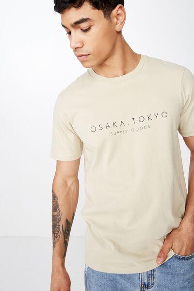 Tbar Text T-Shirt, PALE SAND/OSAKA.TOKYO