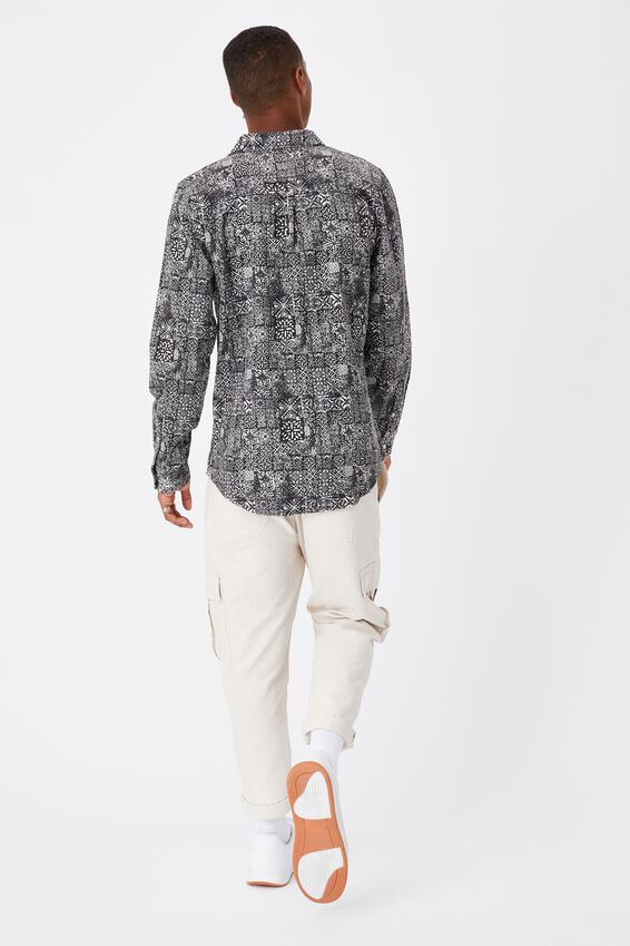 Festival Long Sleeve Shirt, BLACK GRID