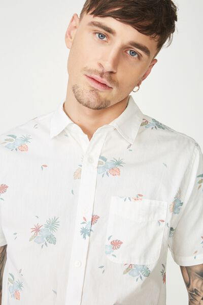 Short Sleeve Resort Shirt, WHITE FLORAL CLASSIC