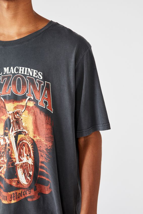 Bondi Tee, SK8 WASHED BLACK/STEEL MACHINES ARIZONA