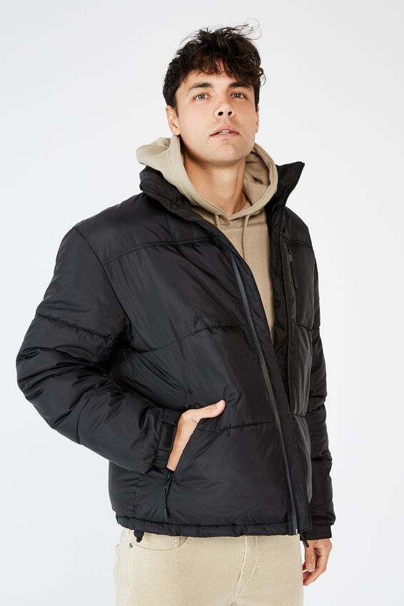 Recycled Puffer Jacket, BLACK