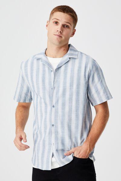 Textured Short Sleeve Shirt, DUSTY BLUE IKAT STRIPE