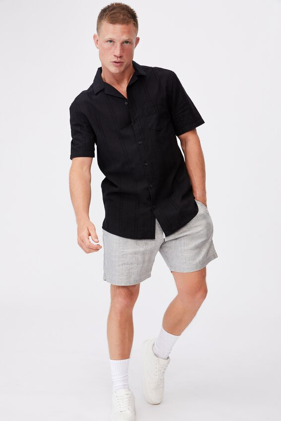 Textured Short Sleeve Shirt, BLACK TONAL STRIPE