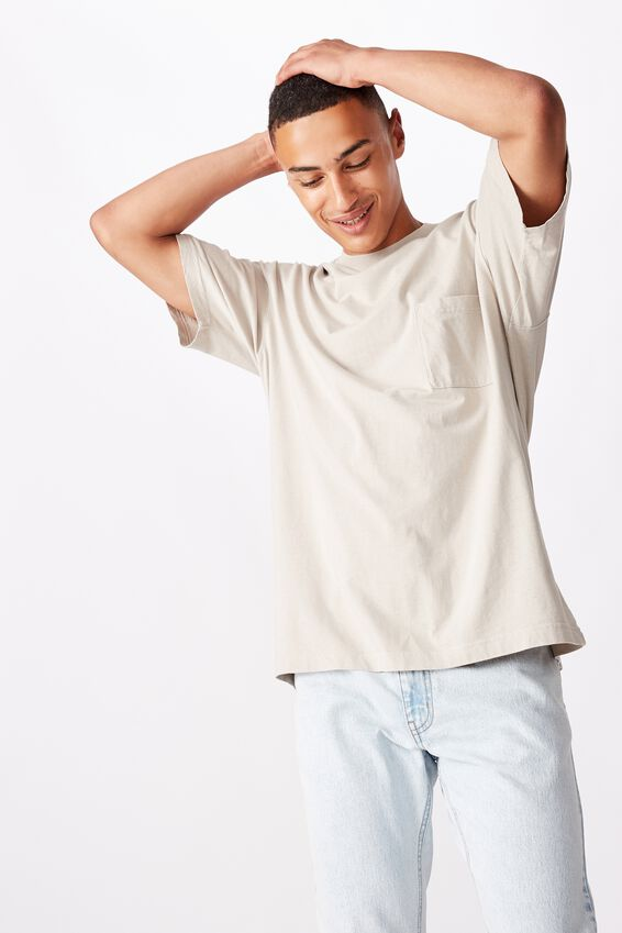 Washed Pocket T-Shirt, LIGHT SMOKE