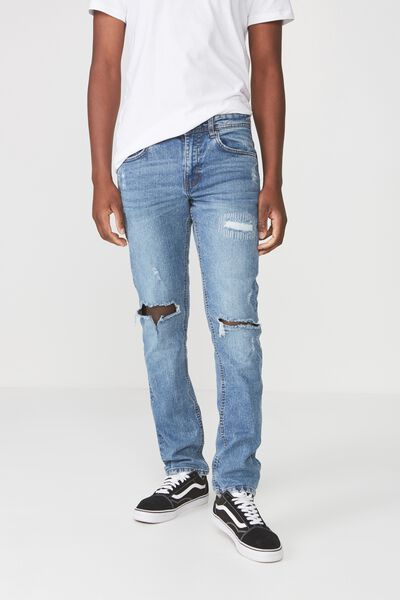 Slim Fit Jean, TRUE BLUE BLOWOUT + REPAIR