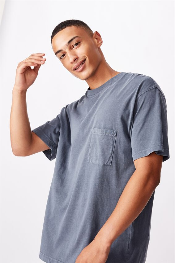 Washed Pocket T-Shirt, DUSTY DENIM