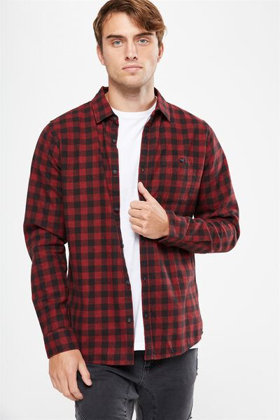 Rugged Long Sleeve Shirt, RED CHECK