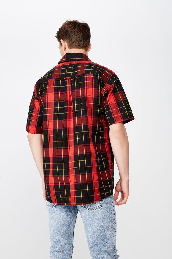 Box Fit Short Sleeve Shirt, RED BLACK CHECK