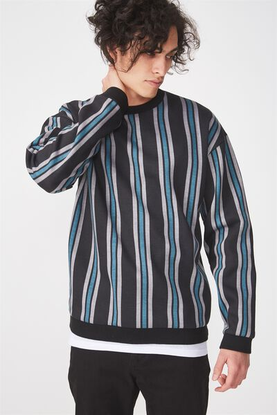 Drop Shoulder Crew Fleece, BLACK/MID GREY/TEAL VERTICAL STRIPE