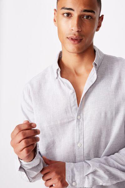 Textured Long Sleeve Shirt, LIGHT GREY