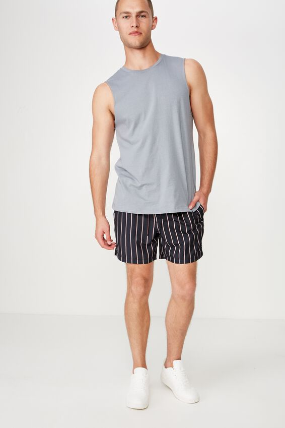 Swim Short, BLACK VERT STRIPE