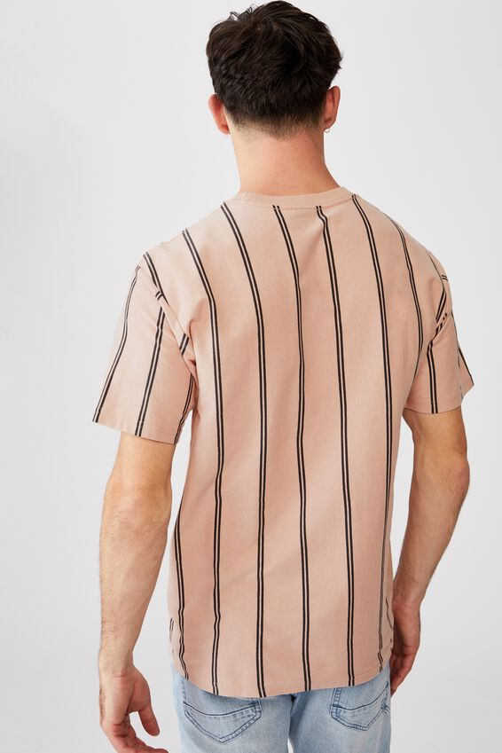 Downtown Tee, DIRTY PINK DOUBLE SPACED STRIPE