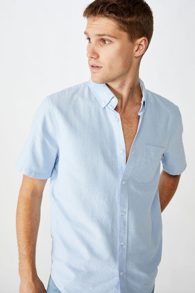 Vintage Prep Short Sleeve Shirt, SKY BLUE OXFORD