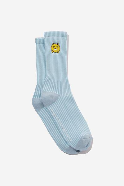 Kakao Active Sock, LCN KAK POWDER BLUE STRIPE KAKAO FRIENDS