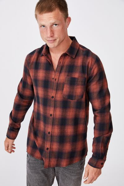 Washed Long Sleeve Check Shirt, BURNT ORANGE CHECK
