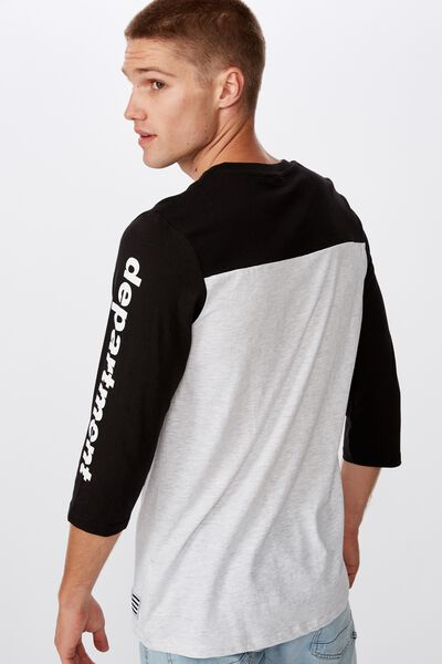 Tbar 3/4 Baseball Tee, BLACK/WHITE MARLE/DEPARTMENT