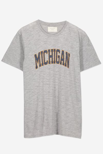 Tbar Tee 2, GREY MARLE SLUB/MICHIGAN