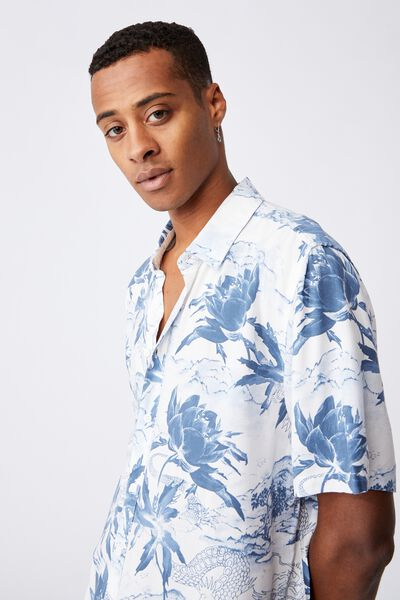 Short Sleeve Resort Shirt, CHINESE GARDEN WHITE