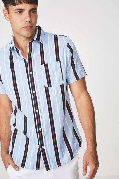 Vintage Prep Short Sleeve Shirt, SKY NAVY BURNT ORANGE STRIPE
