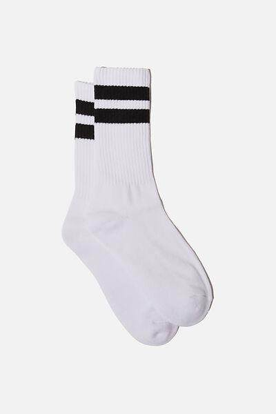 Essential Active Sock, WHITE SPORT STRIPE