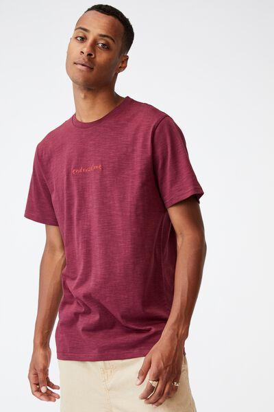 Tbar Text T-Shirt, BURGUNDY/ENDORSE ME