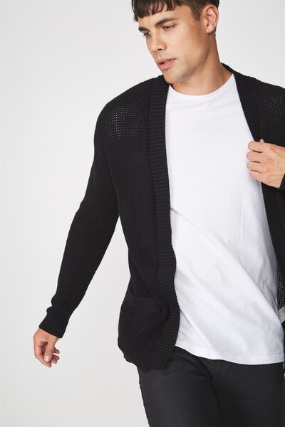 Lightweight Cable Cardi, BLACK