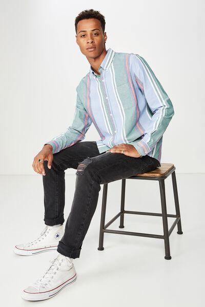 Brunswick Shirt 3, GREEN NAVY SKY BOLD STRIPE