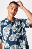 Short Sleeve Resort Shirt, INDIGO FLORAL