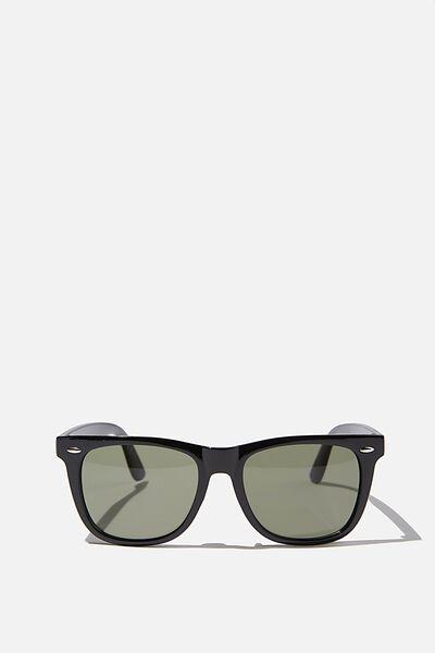 Beckley Sunglasses, BLACK GLOSS/GREEN