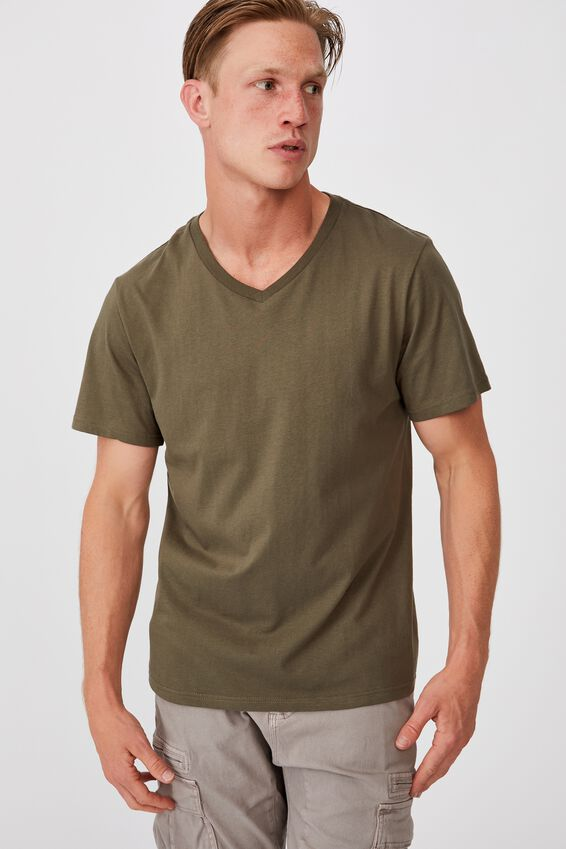 Essential Vee Neck T-Shirt, MILITARY