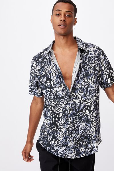 91 Short Sleeve Shirt, ANIMAL ABSTRACT INVERT