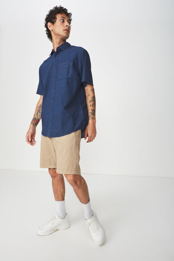 Vintage Prep Short Sleeve Shirt, MID BLUE SLUB CHAMBRAY