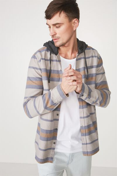 Rugged Hooded Shirt, GREY NAVY STRIPE
