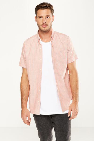 Vintage Prep Short Sleeve Shirt, ORANGE STRIPE