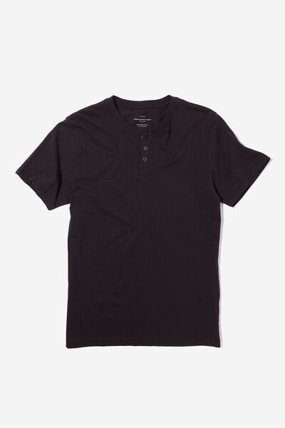 Organic Henley T-Shirt, BLACK