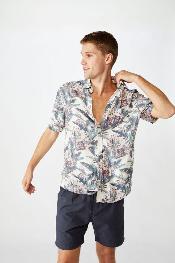 Vacation Short Sleeve Shirt, OFF WHITE PARADISE