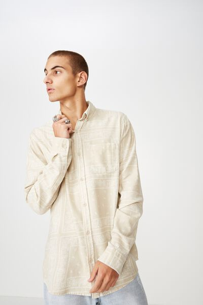 Long Sleeve Printed Flannel Shirt, STONE WHITE PAISLY
