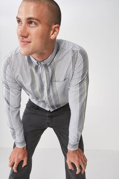 Brunswick Shirt 3, KHAKI NAVY BOLD STRIPE