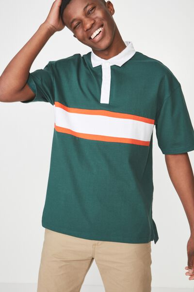 Oversized Short Sleeve Polo, GREEN ORANGE BLOCK STRIPE