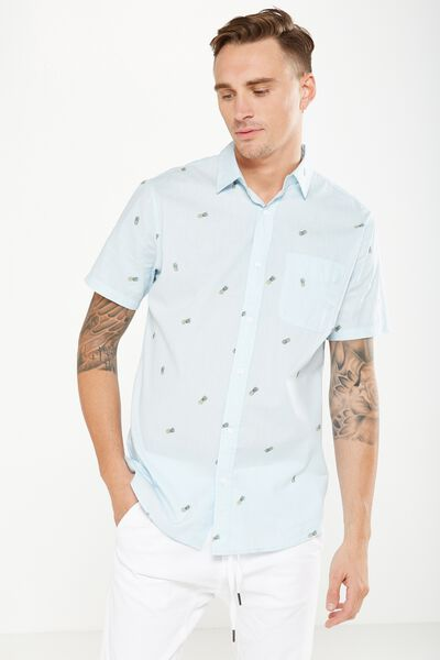 Vintage Prep Short Sleeve Shirt, SKY BLUE PINEAPPLES