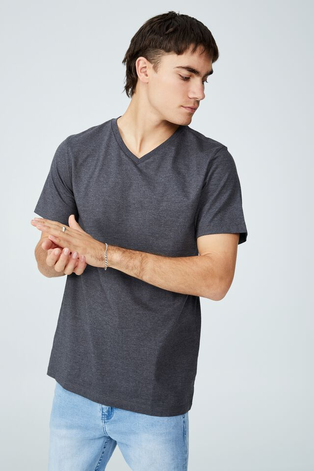 Organic V-Neck T-Shirt, CHARCOAL MARLE