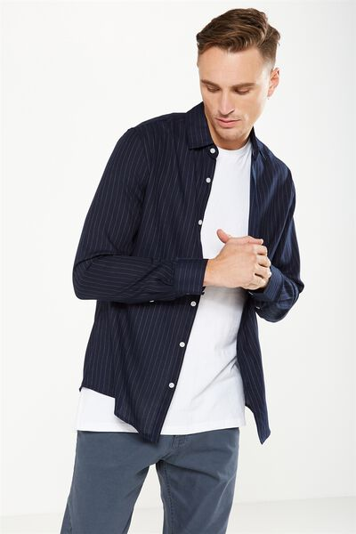 Slim Smart Shirt, NAVY/CHARC STRIPE