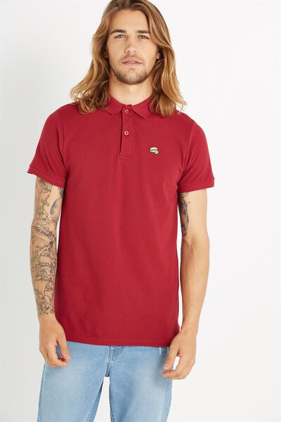 Ss Embroidered Polo, RED EMB
