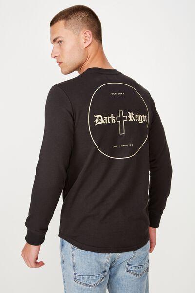 Curved Longline Fleece, WASHED BLACK/DARK REIGN