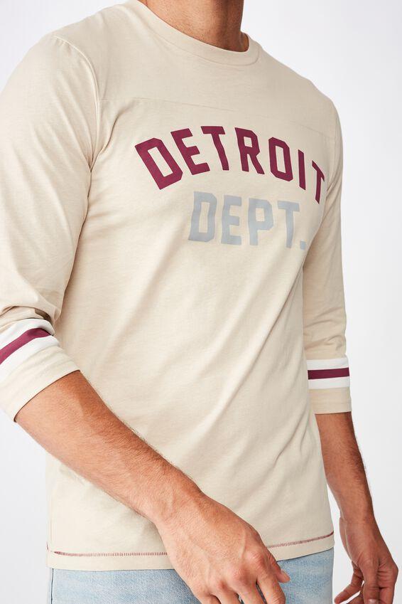 Tbar 3/4 Baseball Tee, PEARL/DETROIT DEPT