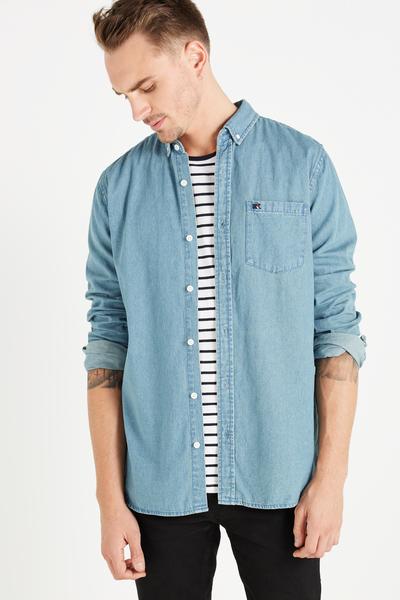 Vintage Long Sleeve Shirt, MID BLUE DENIM
