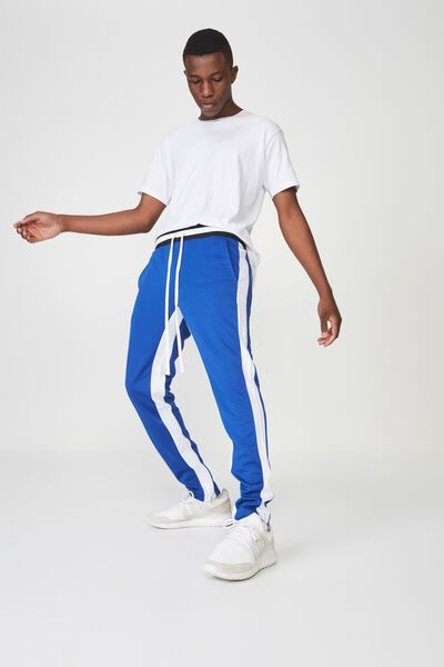 Urban Side Stripe Track Pant, BLUE / WHITE PANEL