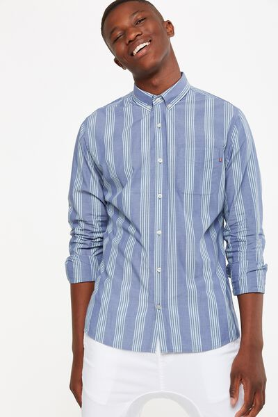 Brunswick Shirt 3, DENIM TEAL STRIPE