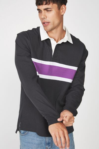 Rugby Polo, CHARCOAL PURPLE BLOCK STRIPE
