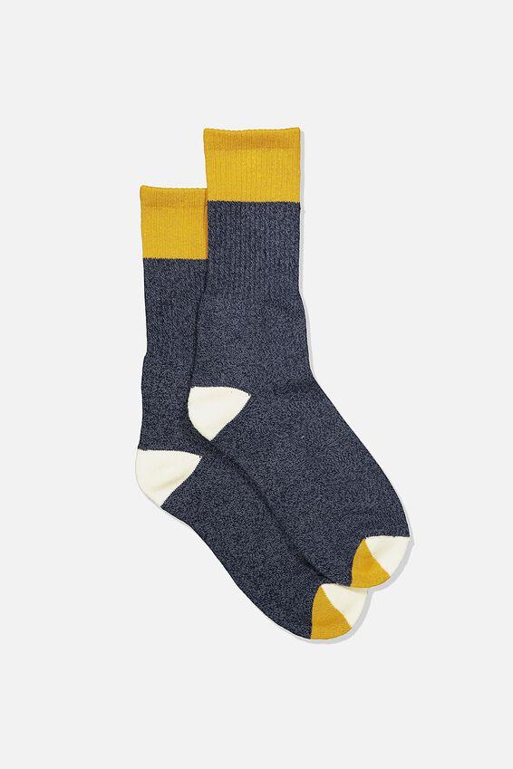 Single Pack Active Socks, NAVY MUSTARD BLOCK MELANGE